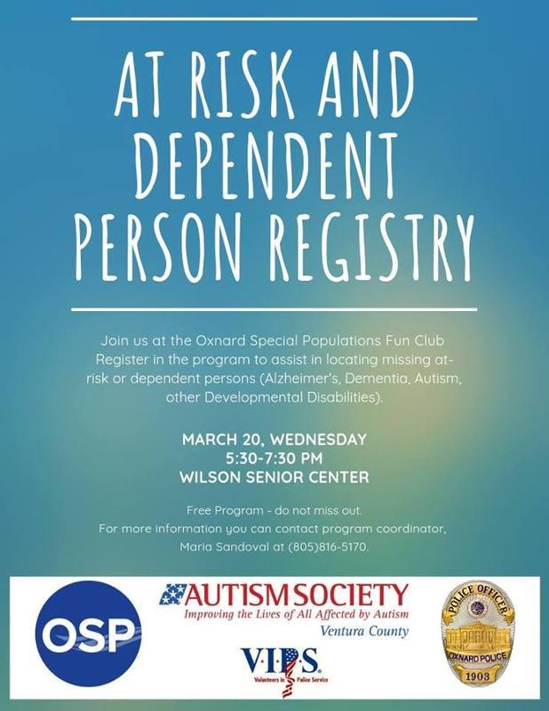 At Risk & Dependent Person Registration